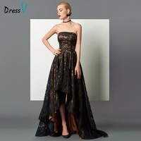 Dressv Black Strapless Long Evening Dress A Line Asymmetry Backless Sleeveless Lace Evening Dresses High Low