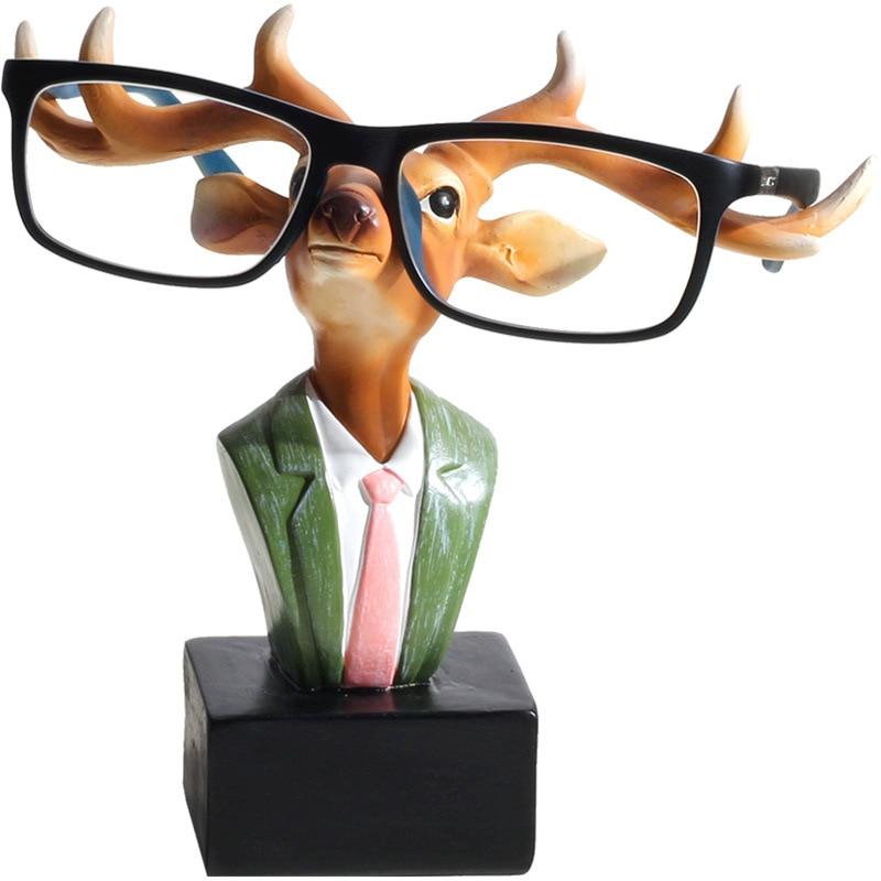 Desk Decoration Home Decor 6 39 39 Resin Rabbit Deer Glasses Bracket Figurines Creative Animal Glasses Stand Ornament Reindeer Model in Figurines amp Miniatures from Home amp Garden