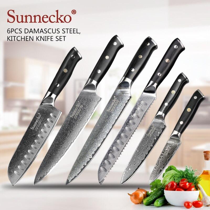 SUNNECKO 6 pcs Cuisine Couteaux Set Chef Utilitaire Santoku Couteau 73-Couche Damas VG10 Acier Lame Tranchante G10 Poignée outils de coupe