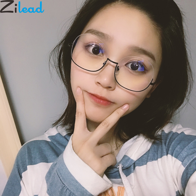 Zilead Ultralight Metal Half Frame Rim Glasses Frame Oversized Women Clear Optical Spectacle Eyewear Eyeglasses Unisex