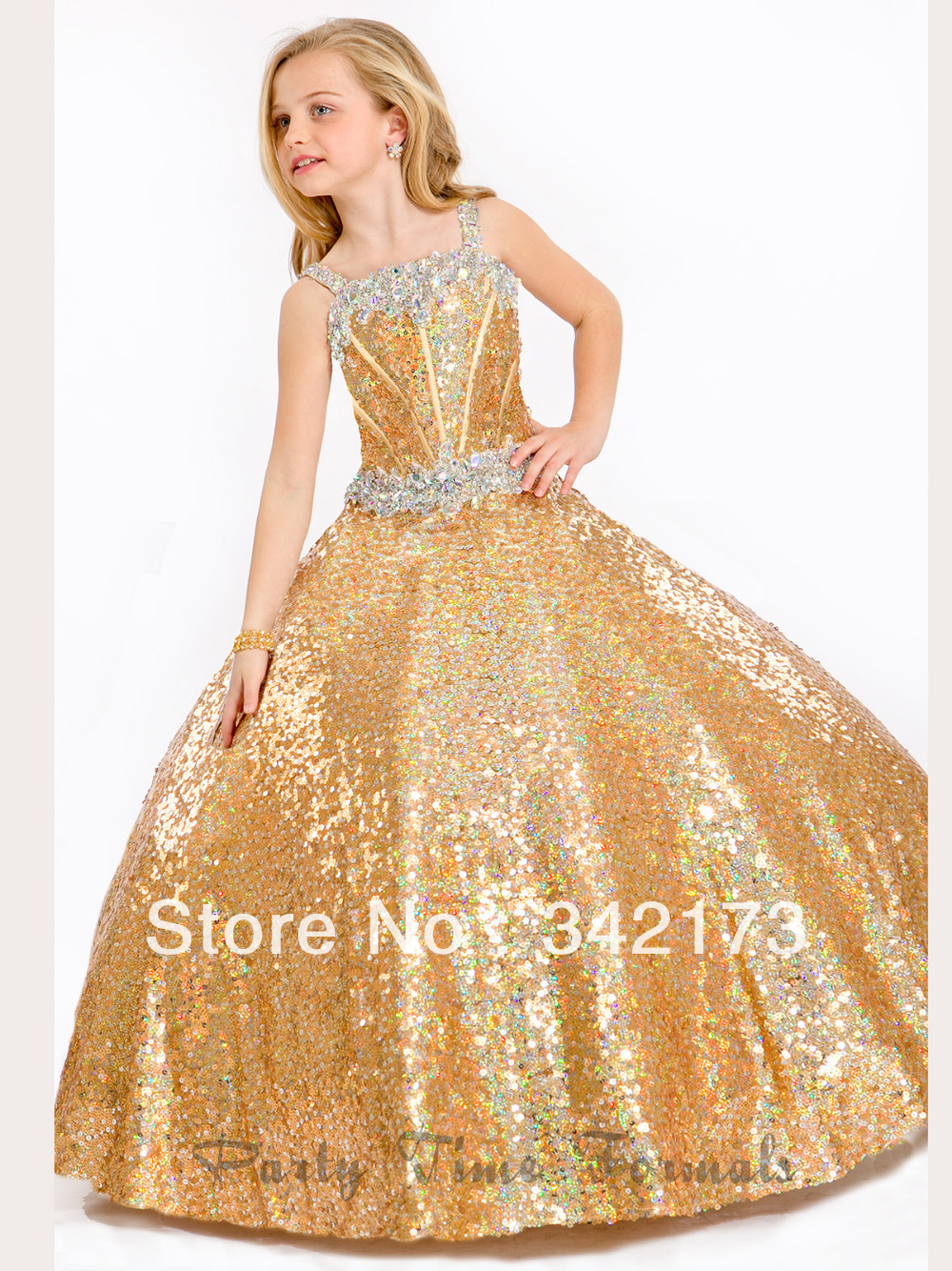 Shinning Gold Fully Sequin Pageant Party Gown Little Girls Pageant ...