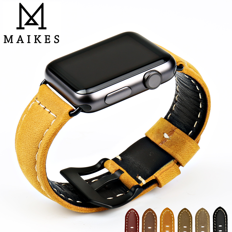 MAIKES Véritable Bracelet En Cuir Pour Apple Montre Bracelet 42mm 38mm iWatch et Apple Montre Bande 44mm 40 mmSeries 1/2/3/4