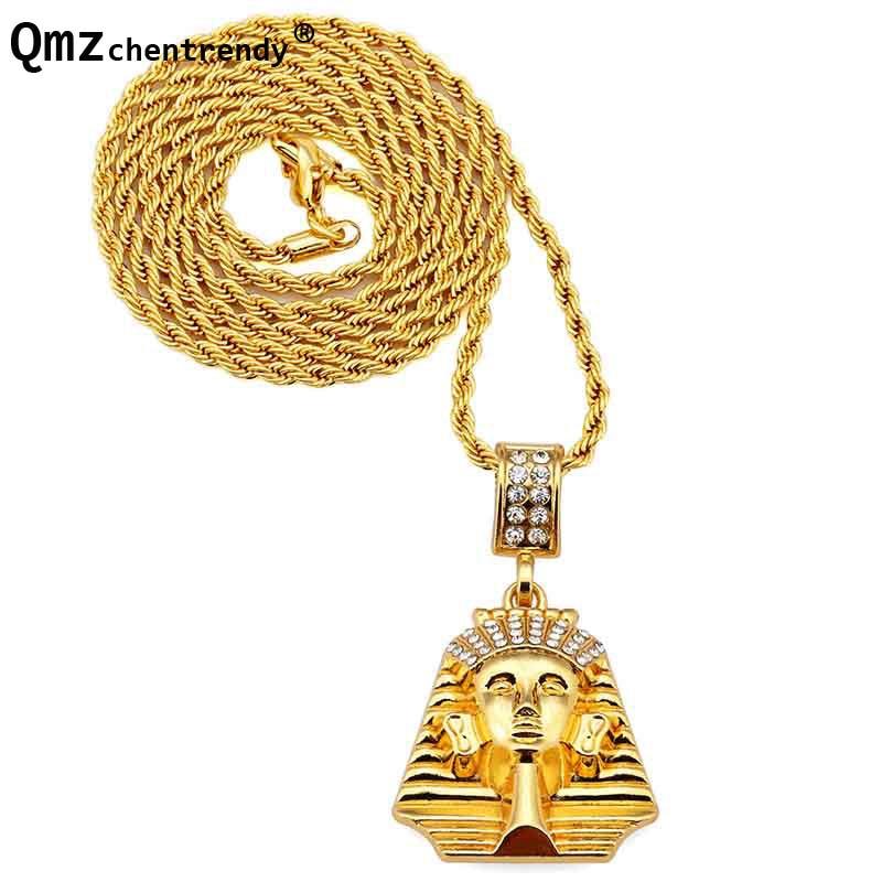 Haute Qualité Hip Hop Or Petit Egypte Pharaon Dernier Roi Pendentifs  Colliers Bijoux pour hommes femmes 0e96dbaea7e