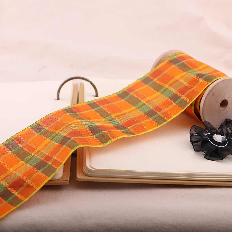 1 YARD 7 ซม. สีส้มลายสก๊อตสก๊อตริบบิ้นพิมพ์ริบบิ้นโพลีเอสเตอร์, ทำด้วยมือ DIY, งานแต่งงานของขวัญห่อ
