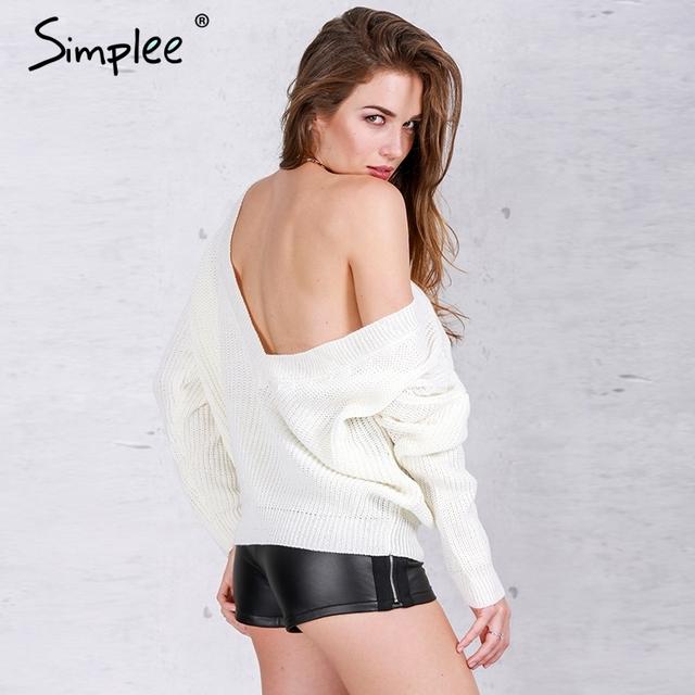 Simplee Profunda V do pescoço solto pulôver Básico das mulheres jumpers malhas Sexy elastic outono camisola ocasional 2016 inverno Macio outwear