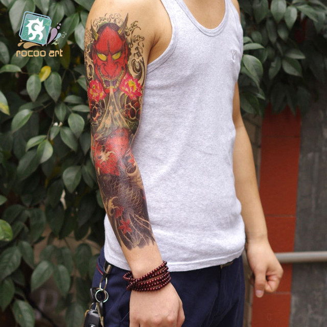 AC-006 16x48cm Large Gold Grey Fish Arm Temporary Body Tattoo Stickers For Men Waterproof Sexy Body Art unique design sex produc