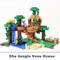 Kits de edificio modelo compatible con lego mis mundos aficiones minecraft juguetes edificio modelo de la casa del árbol de la selva para los niños