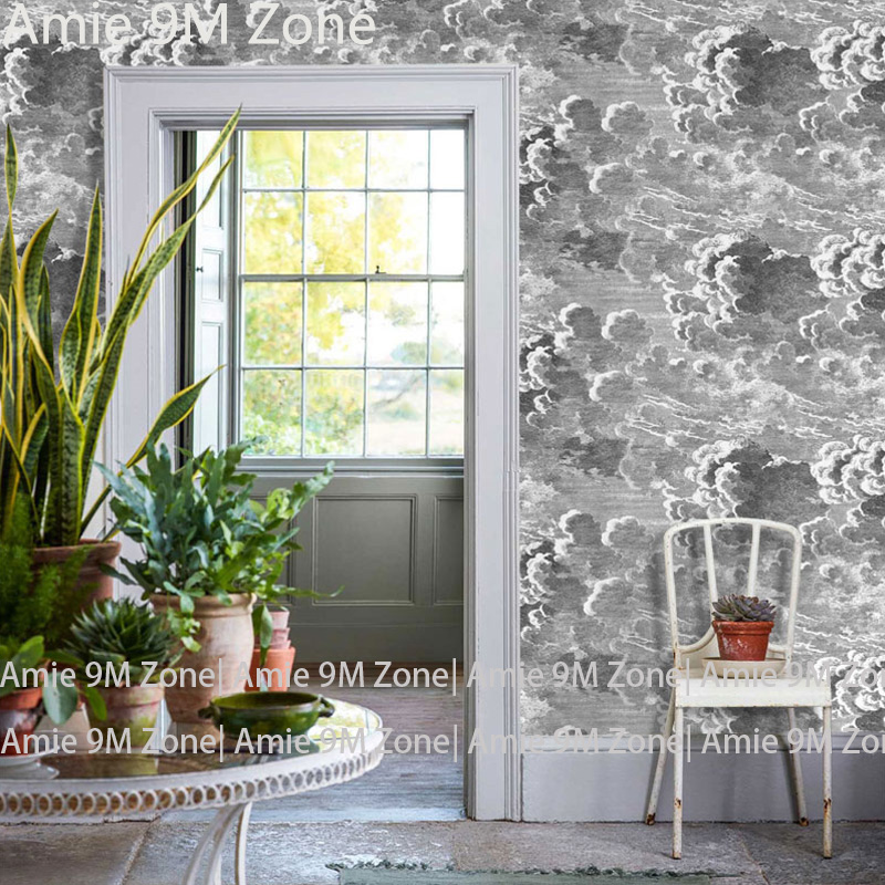 Tuya Art wall-paper 3d look grey cloud sea spray art for retro wallpapers home wall decor living room and bed room wall covering wall shelf for tea pots