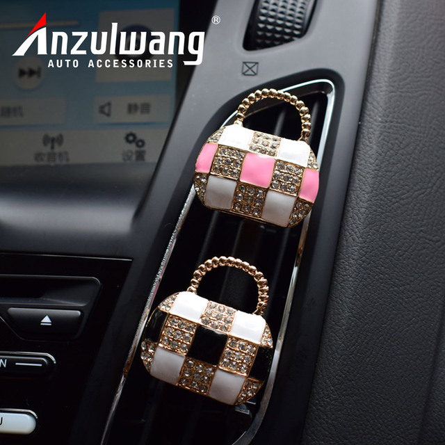ANZULWANG Handbags Perfume Cars Interior Upholstery Artificial Crystal Cars  Air Outlet Perfume Decor Aromatherapy