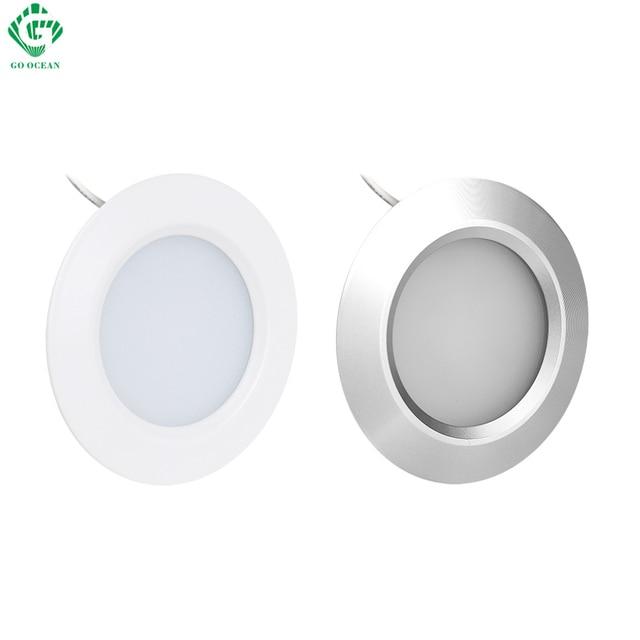 Sob Luzes Do Gabinete Puck Light 12 V Rodada De Alumínio Prateleira Da Cozinha Armário Lâmpadas LED Armário Iluminação Noite Showcase Counter Lamp