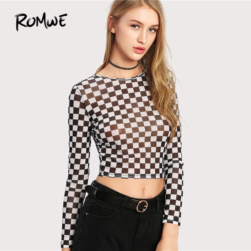 b5f72cc8e7a ROMWE Checkered Crop Tops 2018 Spring Round Neck Long Sleeve Slim Fit Sexy  T Shirt Women Casual Black and White Plaid Tee-in T-Shirts from Women s  Clothing ...