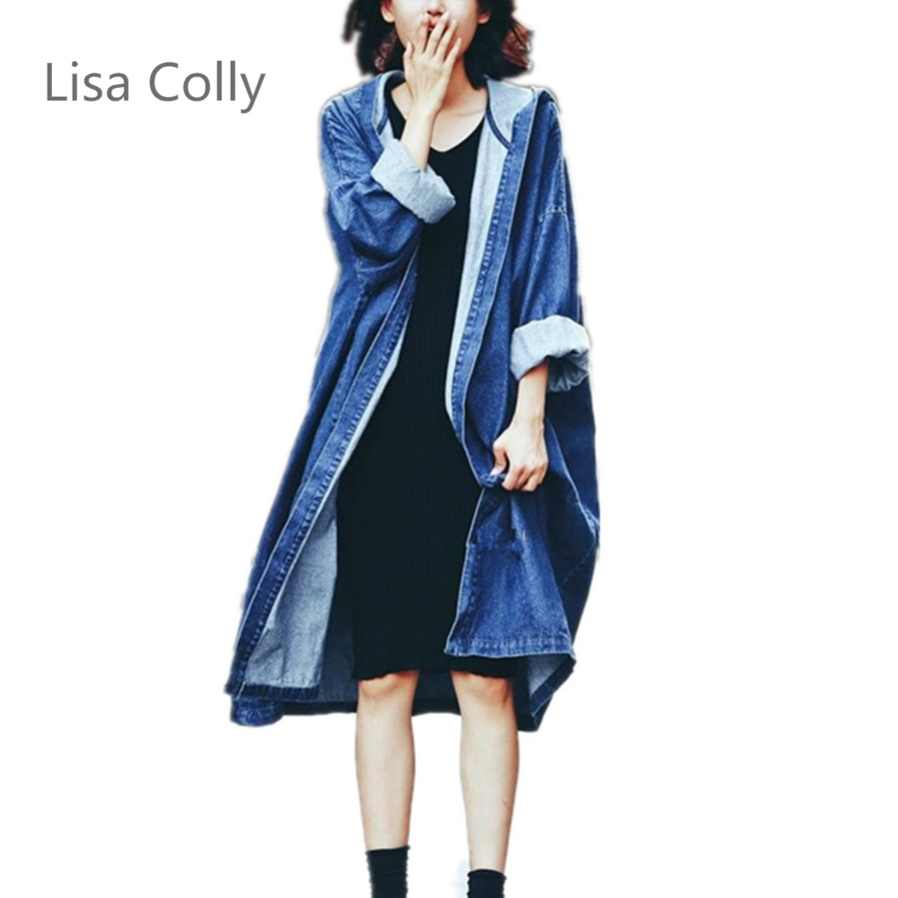 Lisa Colly Spring Denim Jacket Long Sleeve Hooded Coats Womens New Blue Casual Jeans Outwear Fashion Autumn Denim Basic Jackets