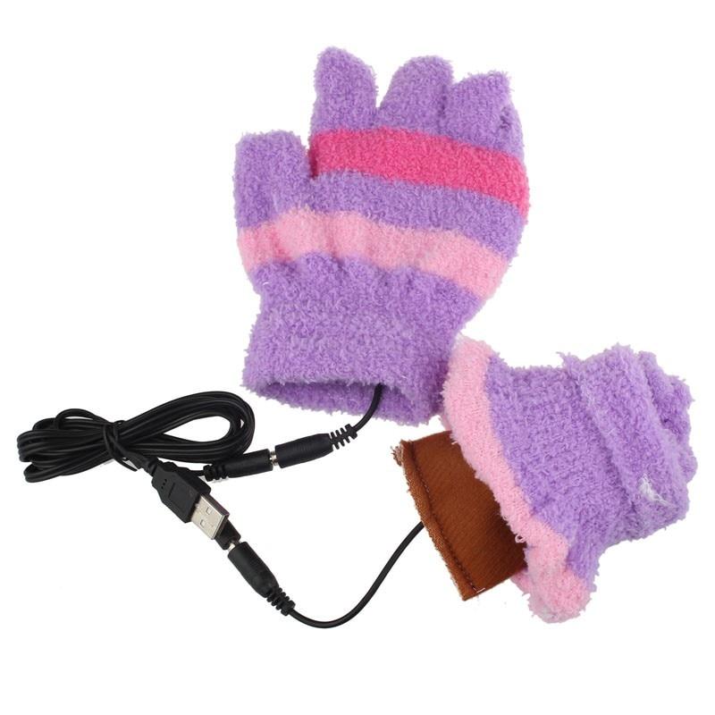 1 Pair Usb Gloves Heating Winter Warm Gloves Heated Fingerless Warmer Mitten