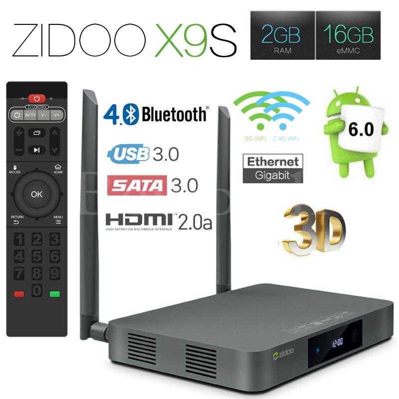 Android 6.0 TV Box Zidoo X9S Realtek RTD1295 Quad Core 2 GB 16 GB Inteligente TV