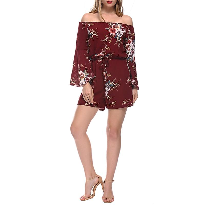 Zielstrebig Schulterfrei Elegante Shorts Overall Für Frauen Lange Aufflackernhülse Damen Sexy Body 2018 Boho Overall Blumenspielanzug Femme