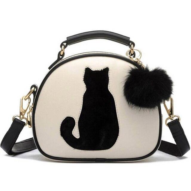 2017 Cat Printing Bag Ladies Crossbody Bags Circle Women Leather Handbags with Fur Ball Women Messenger Bag WZ3