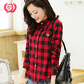 Cotton long-sleeved plaid shirt female 2015 autumn winter plus size loose women blouses sanding warm and comfortable 13 colors