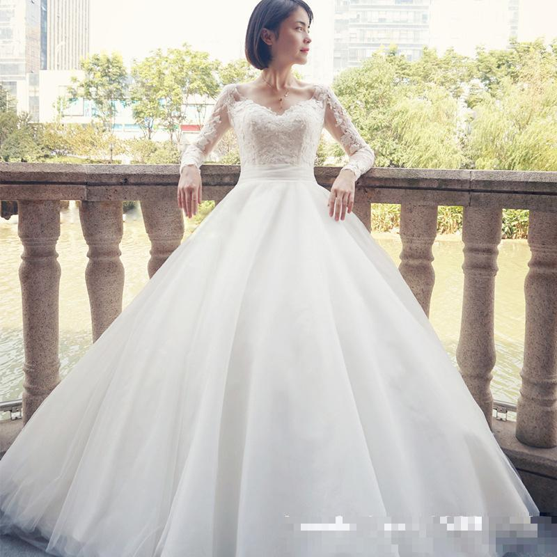 Wedding Dresses Wedding Gown Sheer Long Sleeves White: Gorgeous Sheer Ball Gown Wedding Dresses 2017 Puffy Lace