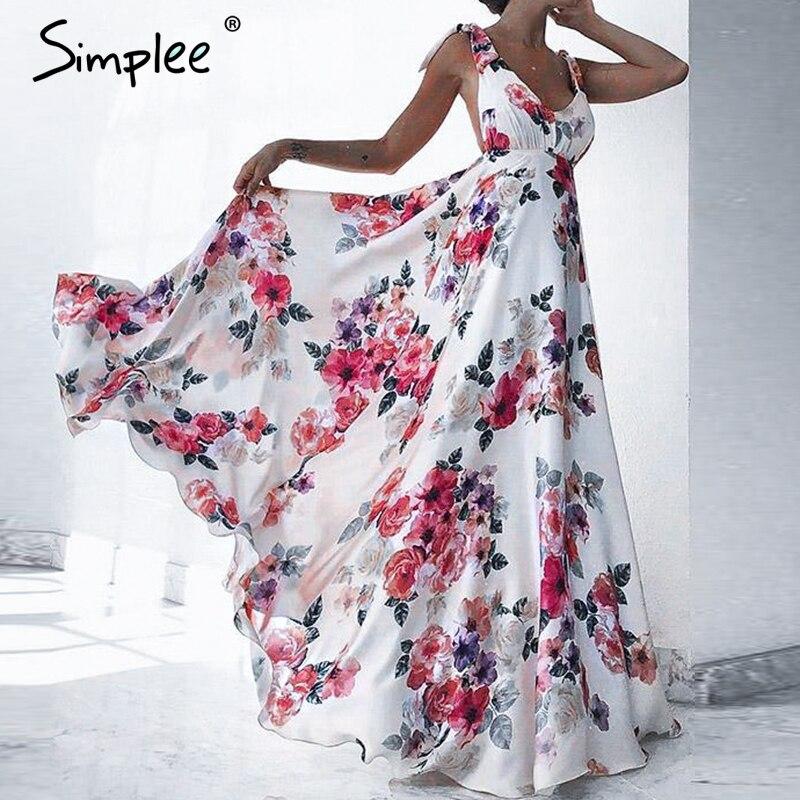 Simplee сексуальное длинное платье с цветочным рисунком и низким вырезом на спине женское с v-образным вырезом Бандажное летнее платье с галсту...