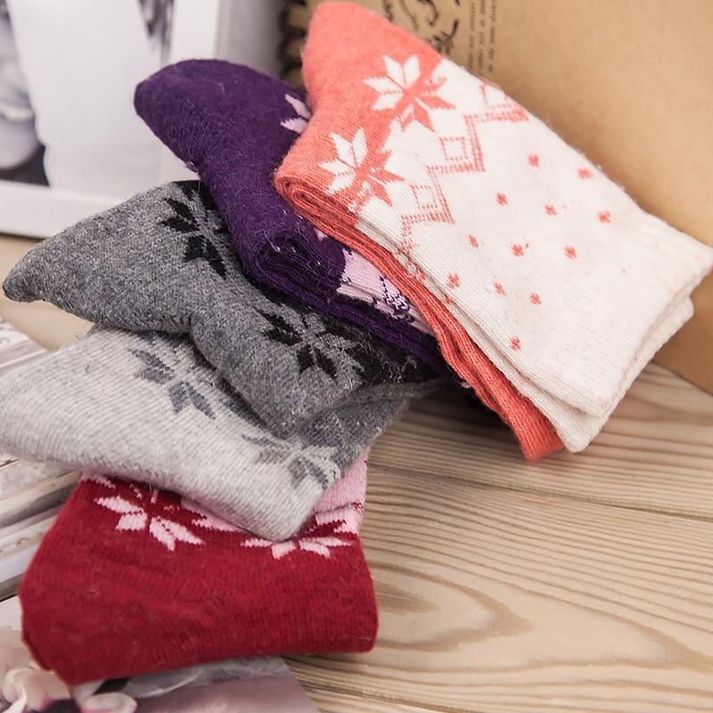 5 Pairs Lot Wool Socks Women Winter Warm Maple Leaves Pattern Cashmere Socks Ladies Girls 5 Colors Christmas Gift in Socks from Underwear Sleepwears
