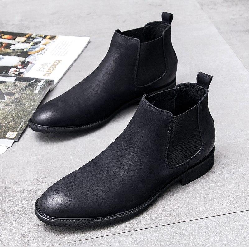 Nouveau Chelsea nubuck cuir hommes bottes rétro bottines rétro angleterre tendance hommes d'affaires robe de travail bottes de mariage chaussures hommes - 2