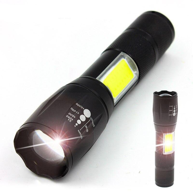 NOUVELLE LED lampe de Poche tactique CREE T6 + 5 w COB Zoom Longue portée Led lampes de Poche Torche Pour Camping En Plein Air