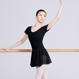 Image 4 - Ballet Leotards For Women Professional Ballet Costumes Adult Dance Dress Black Cotton Leotard With Chiffon Skirt