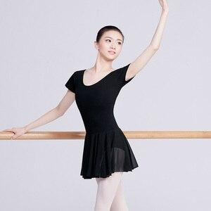 Image 4 - Traje de balé leotards para mulheres, traje de dança adulto, vestido collant de algodão preto com chiffon