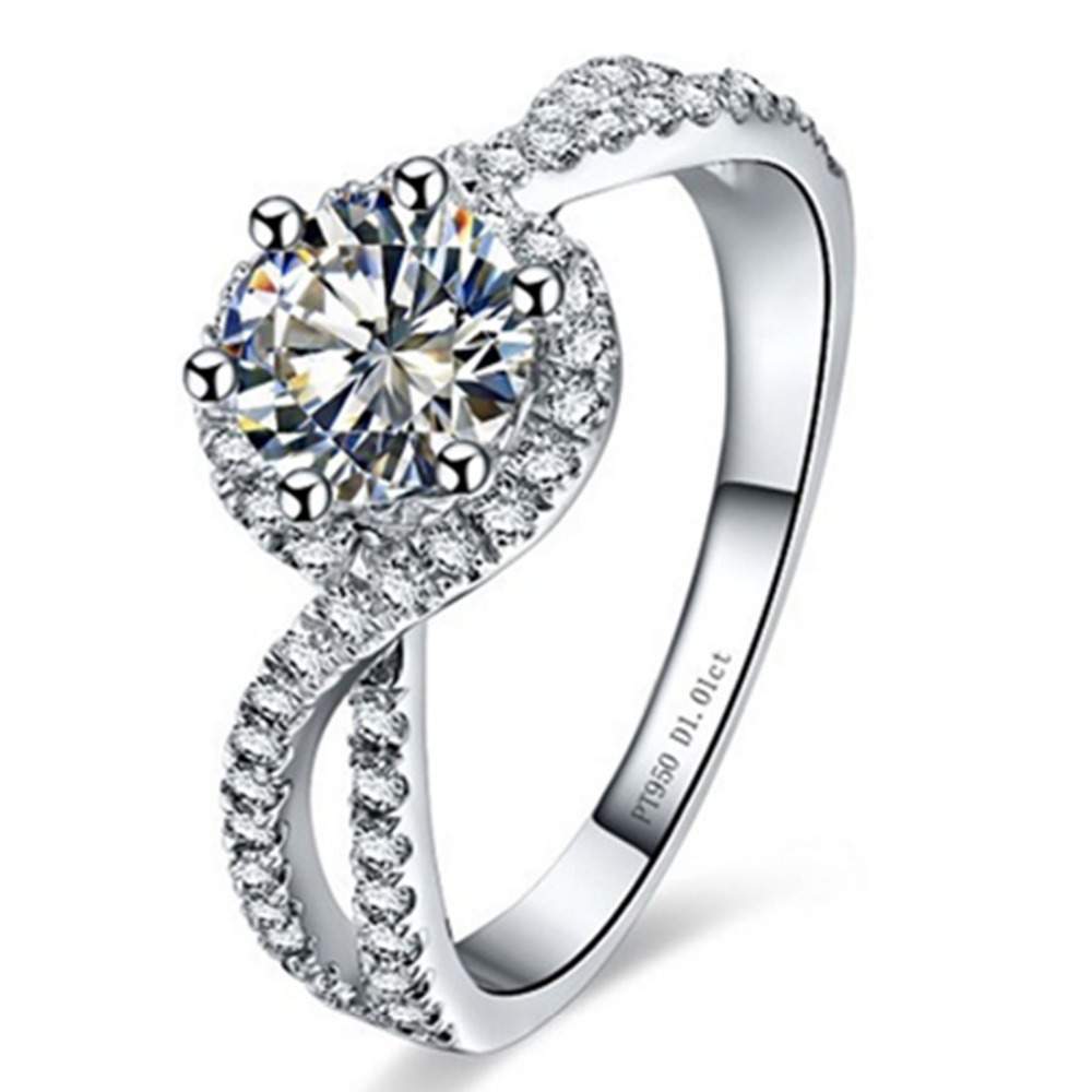 Test Positive Genuine Moissanite Brand Ring Sterling Silver Jewelry 1ct Lab  Grown Diamonds Ring Jewelry Engagement Ring Wave 925