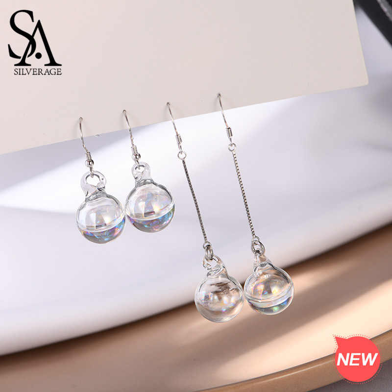 SA SILVERAGE 925 Sterling Silver White Glass Ball Drop Earrings for Woman Short/Long Two Types 925 Silver Earrings Water Bubble
