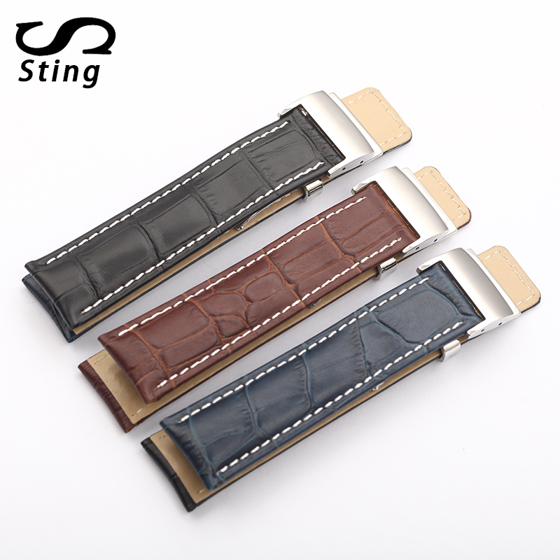 Sting Strap Fashion Men and Women Leather Bamboo Pattern Watch Strap For Breitling 22 24mm Watchband fashion small lattice and tiny floral pattern 6cm width tie for men