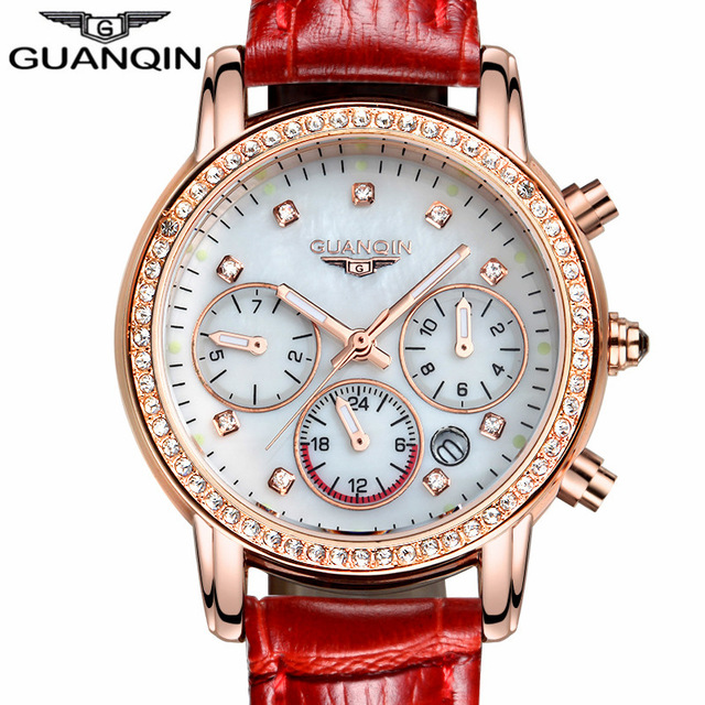 Ladies Watches Brand Luxury GUANQIN Women Watch Quartz Leather Fashion Casual Waterproof Female Wristwatches 2018 Montre Femme pinkwin red 4xl