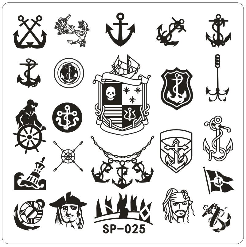 Square Small Nail Art Stamping Template Pirate Ship