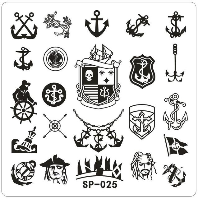 square small nail art stamping template pirate ship designed metal
