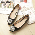 Rhinestone Pointed Toe Women Flats Soft Bottom Casual Women Flat Shoes 2017 Summer Ladies Moccasins Plus Size 41 42 43 SNE-718