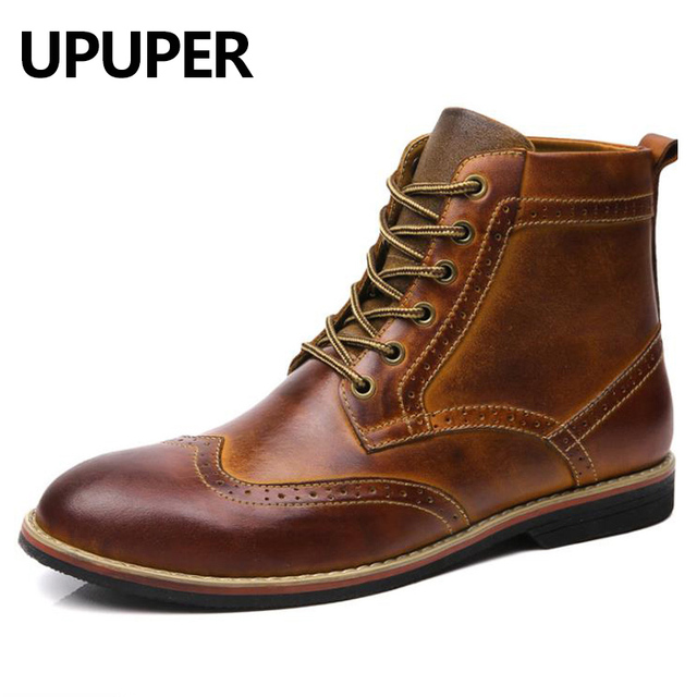 2019 Autumn NEW Men Boots Big Size 38-47 Vintage Brogue College Style Men Shoes Casual Fashion Lace-up Warm Boots For Man Brown 1