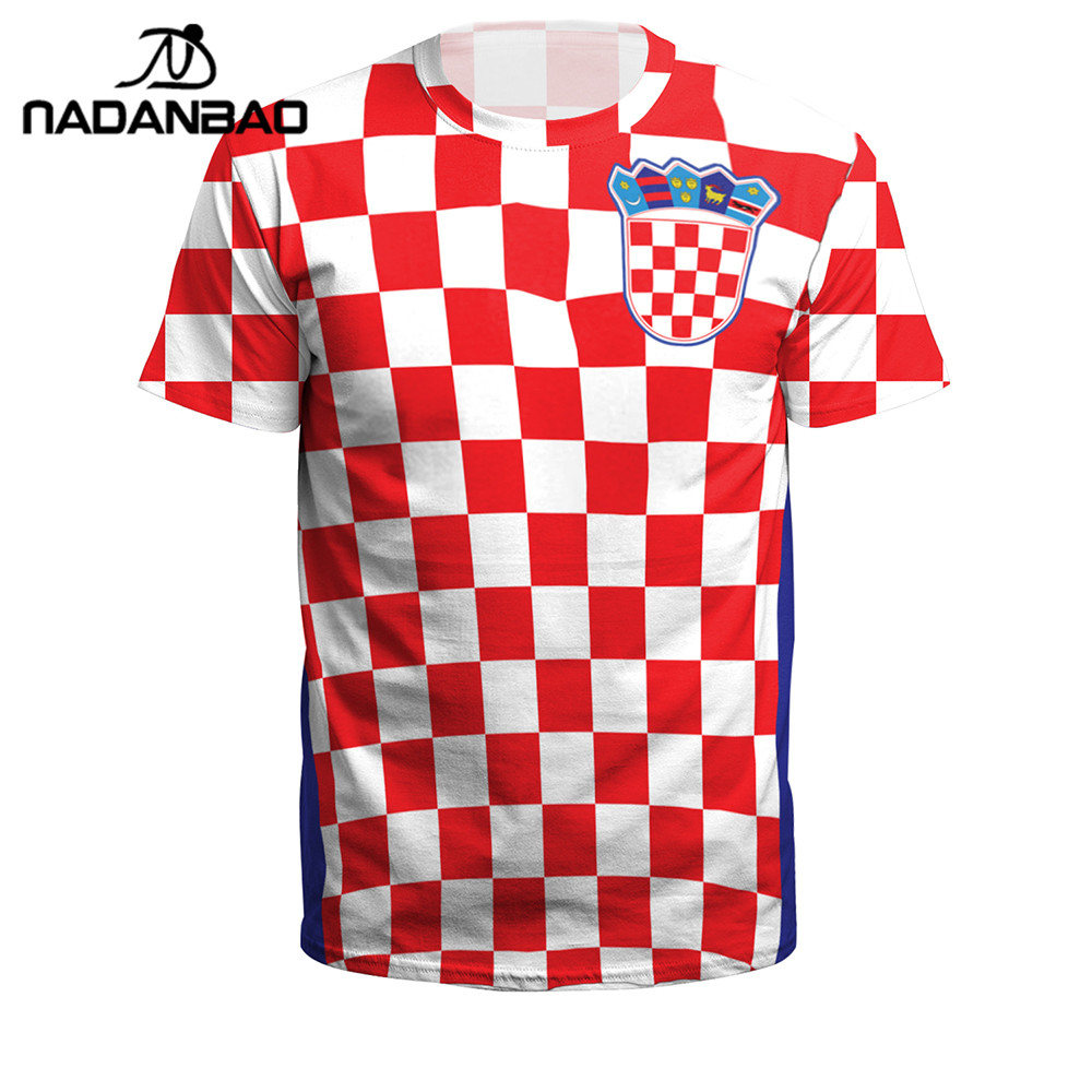 NADANBAO Summer Men/Women Croatia Football Jerseys Sport Tee Tops 3D Printing Futebol Soccer Jersey Fitness Shirt Plus Size lace panel cold shoulder asymmetrical plus size tee