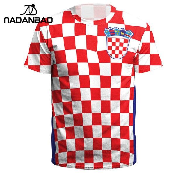 39074a3c2 NADANBAO Summer Men Women Croatia Football Jerseys Sport Tee Tops 3D  Printing Futebol Soccer Jersey