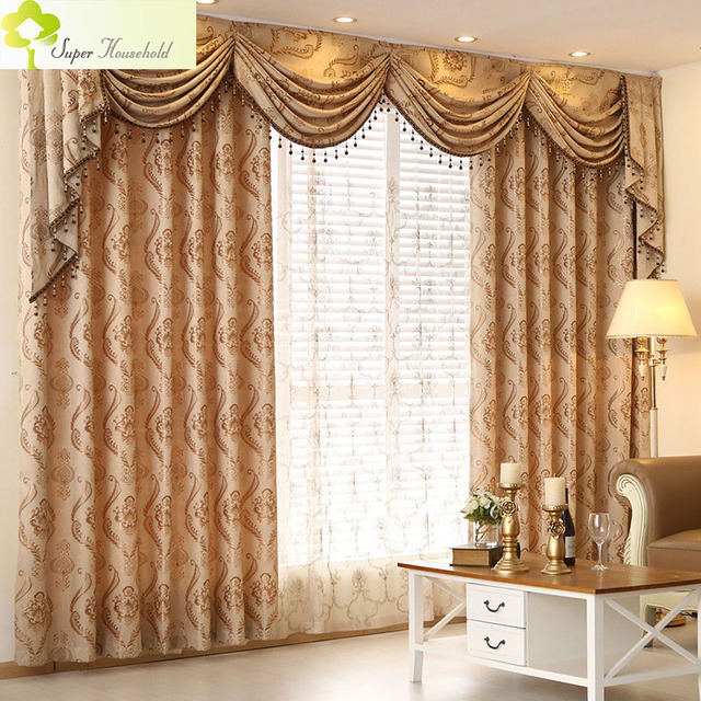 European Curtains For Living Room Jacquard Curtains For The Bedroom Window  Treatments Elegant Drapes 1 PC