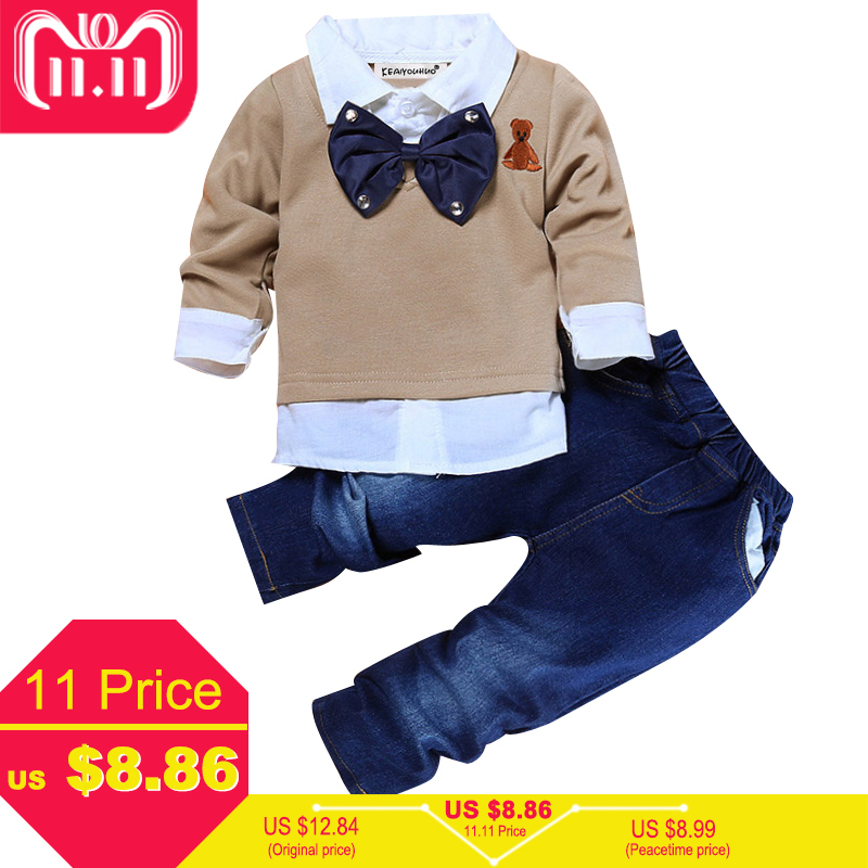 Toddler Boys Clothes Christmas Outfits Kids Clothes Winter Boys Gentleman Suits Children Clothing Sets T-shirt+Jeans Sport Suit 2018 children clothing boys sets girls sport suit windbreake outfits suits costumes for kids clothes sets cartoon boys clothes