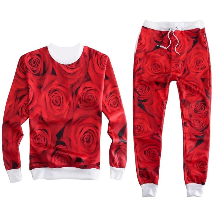 Red Rose Tracksuits 2 Piece Set Women Sport Suit Brand 3D Tracksuit Womens Two Piece Sets Jogging Outfit Sportswear Emoji Fall