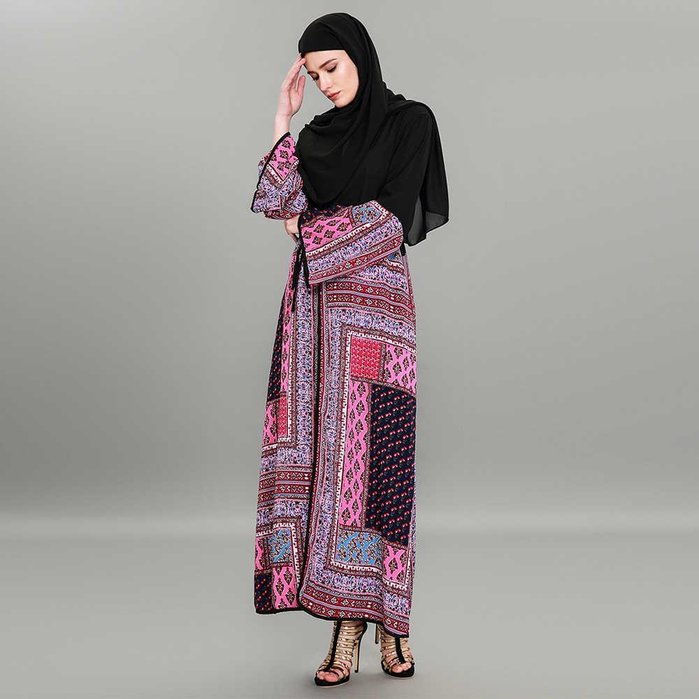 25662952005fa ... Caftan Marocaine Casual Women Muslim Abaya Dresses V Neck Long Sleeve  Patchwork Cardigan Vintage Robe Dubai ...