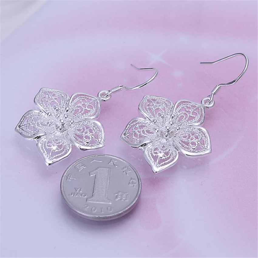 High quality  silver color beautiful flower earrings hot selling fashion jewelry E035 Free shipping Christmas gifts 1