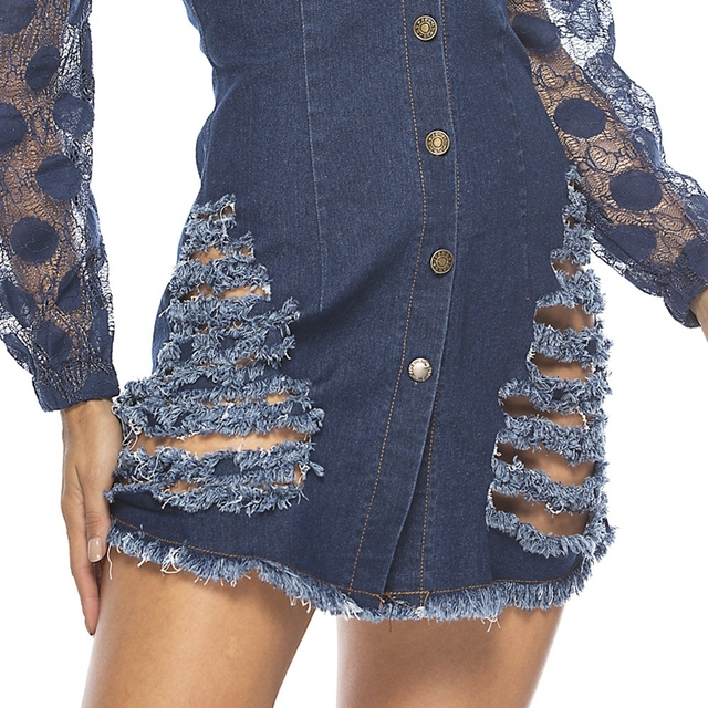 spring Long Sleeves Casual bodycon Dress Women Sexy Lace patchwork ripped Denim Dress Button party Mini Dress elegant Jean Dress 5