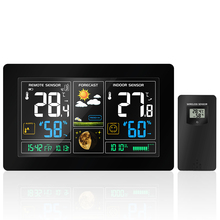 US/EU Plug Digital display Weather forecast clock indoor Thermometer hygrometer pressure display Temperature Humidity Meter home child gifts electronic thermometer and hygrometer with smiley digital display temperature humidity clock display