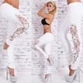 2016 Nueva Llegada de Los Pantalones Vaqueros de Las Mujeres Ahueca Hacia Fuera Completa Jeans Fashion Lace Patchwork Denim Pantalones Lápiz Pantalones Otoño Estilo Caliente P8210-1