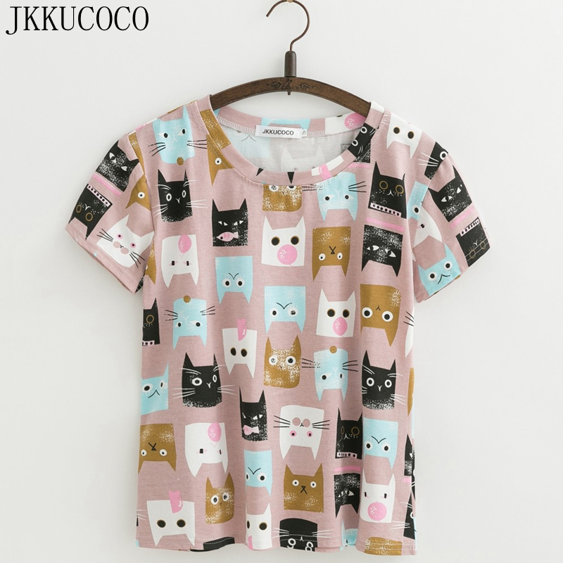 JKKUCOCO Cartoon Cat   shirt   Women new   t  -  shirt   Short Sleeve round neck Casual   T  -  shirt   Cotton   t  -  shirts   Hot Women Tops tee XS-XL