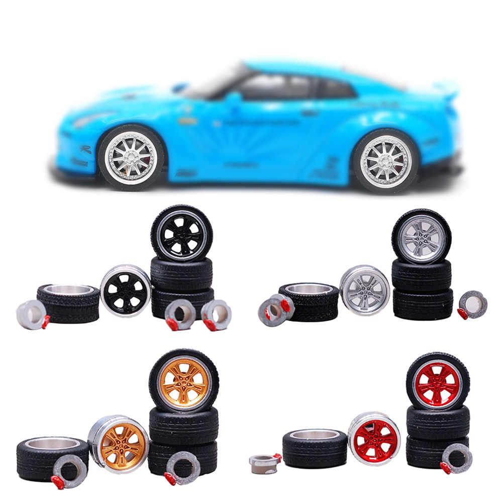 4 Buah/Bungkus Mobil Roda Ban Dimodifikasi Kendaraan Alloy Mobil Mereparasi Roda Ban 1/64 untuk Mobil Cocok untuk Beberapa Tomica Mobil mainan Anak