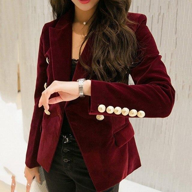 * 2018 осень бархатный блейзер OL Формальная работа небольшой костюм куртка для женщин Тонкий с длинным рукавом Дамы Пиджаки для feminino
