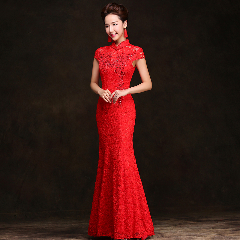 Chinese Wedding Gowns: Lace Embroidery Fishtail Cheongsam Dresses Chinese Red